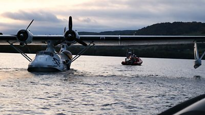 The Catalina flying boat had been attempting to take off from Loch Ness when it developed engine problems.