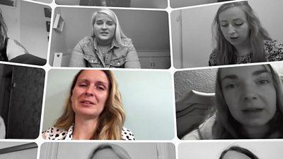 Split screen of women speaking about suffering from endometriosis