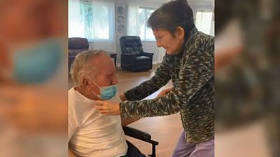 This elderly couple's tearful reunion is caught on camera by staff at the care home where they live.