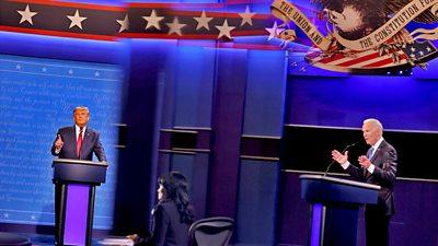 Donald Trump and Joe Biden debate together