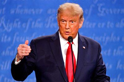 Donald Trump debates with Joe Biden