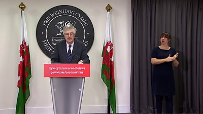 Mark Drakeford at the Welsh Government press briefing