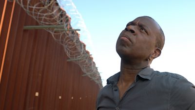 Clive Myrie at US border wall