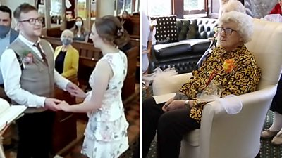 Dot watching live-streamed wedding ceremony