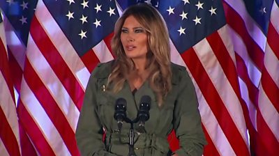 First Lady Melania Trump makes her first solo appearance to support her husband's election campaign.