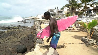 Pape Diouf goes surfing in Senegal