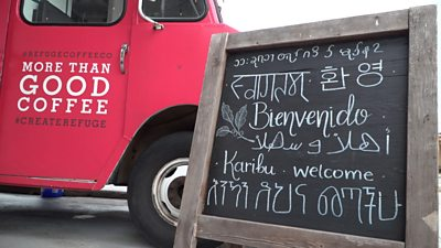 Welcome sign with different languages
