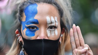 Pro-democracy protester in Thailand