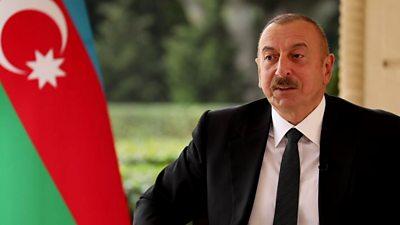 Azerbaijan's President Ilham Aliyev speaks to Orla Guerin