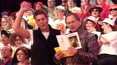 Presenters Michael Ball and Nick Owen at Pebble Mill