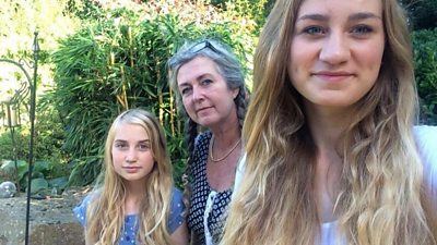 Ellie and Hannah with their mother Julie
