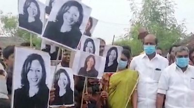 People in Thulasendrapuram lit firecrackers and walked with photos of the US vice-president-elect.