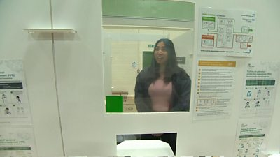 A student at the testing centre at De Montfort University