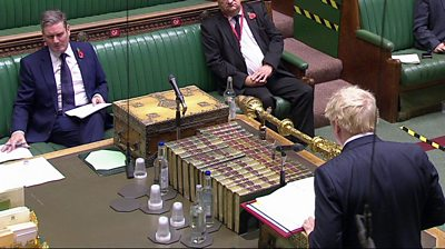 Keir Starmer and Boris Johnson at PMQs