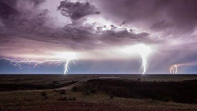 Lighting strikes over outback Australia