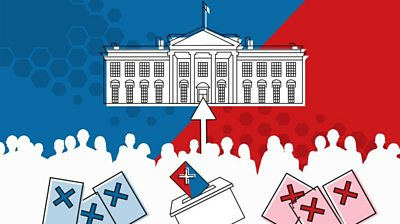 Graphic showing the White House, voters and ballot papers