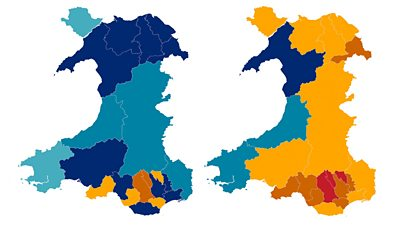 Maps of Wales case rates