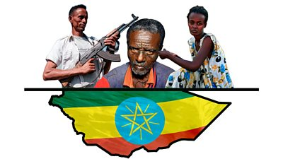 A composite of three Tigrayan people and an Ethiopian flag