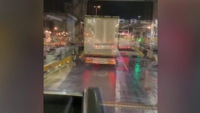 Calais ferry with lorry on it