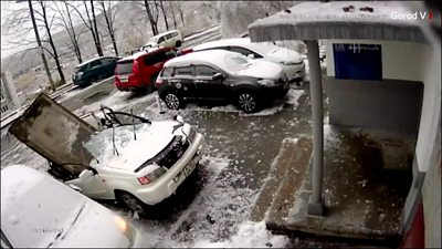Car damaged in storm