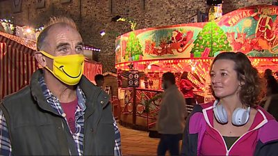 Man in face mask in Cardiff city centre
