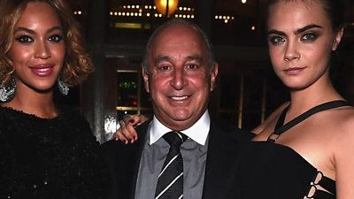 Sir Philip Green with Beyonce and Cara Delevingne
