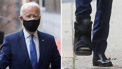 Joe Biden is seen wearing a protective boot on his right foot, which he fractured playing with his dog.