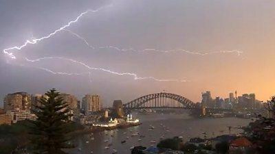 Lightning over Sydney Harbour