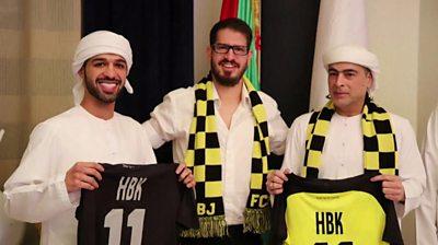 Moshe Hogeg (C), Sheikh Hamad bin Khalifa Al Nahyan (R) and his son Mohamed bin Hamad bin Khalifa