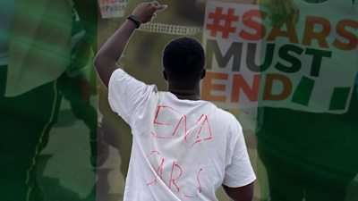 A composite image of a protester and an Nigerian flag