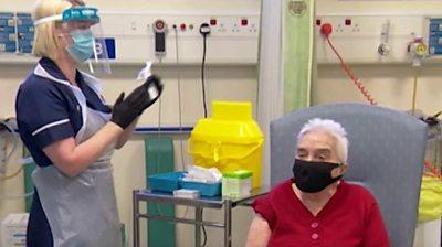 Sheila Page receives coronavirus vaccine