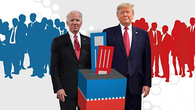 Biden and Trump beside a graphic ballot box and silhouettes behind