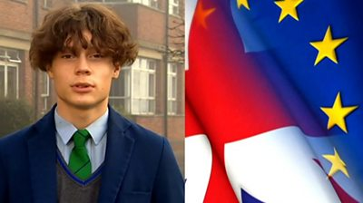 Boy with flags of UK and EU