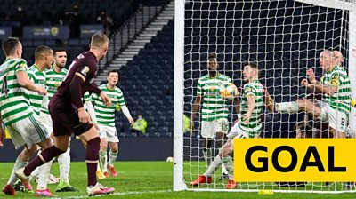 Stephen Kingsley's header crosses the line to pull Hearts level with Celtic at Hampden.