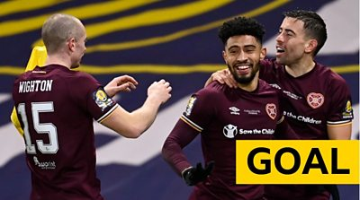 Hearts' Josh Ginnelly levels the Scottish Cup final against Celtic in extra-time.