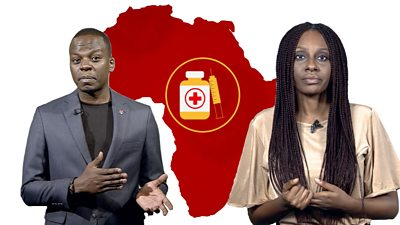 Two presenters with background showing map of Africa and a syringe with vaccine vial