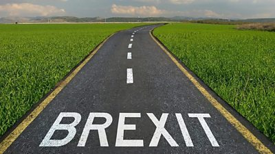 A graphic showing Brexit painted on a road