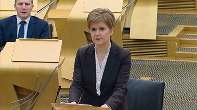 Scotland's first minister said new curbs would be introduced at midnight to try to contain the new, faster-spreading strain of the virus.
