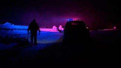 Police car in snowy road