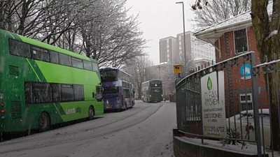 Buses stuck on hill
