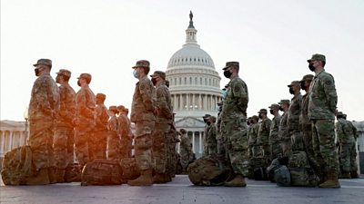 National guard troops at the US Capitol