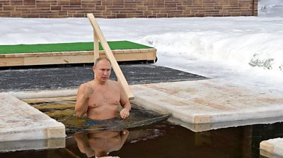 Putin taking icy swim