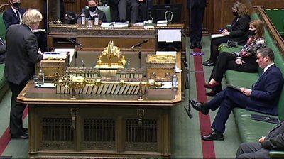 Boris Johnson and Keir Starmer at PMQs