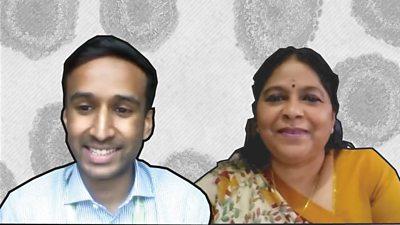 Dr Venughanan Manikavasagar and his teacher Mathavy Shivaleelan in front of a coronavirus graphic