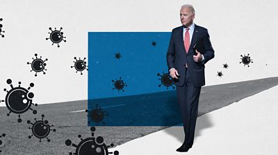 Graphic of Biden on a road with coronavirus symbols