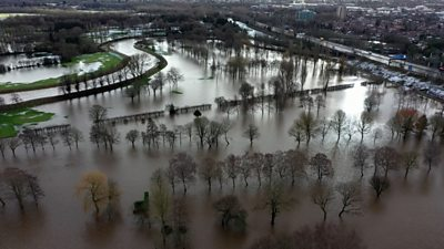 Aerial picture of flooding in the Didsbury area of Manchester