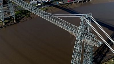 Aerial view of the transporter bridge