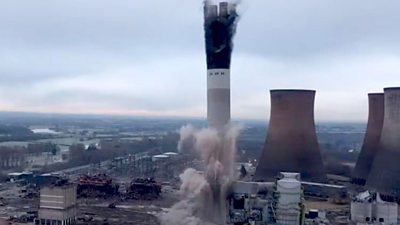 Rugeley Power Station chimney blown up