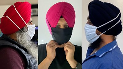 A mask over three man wearing turbans