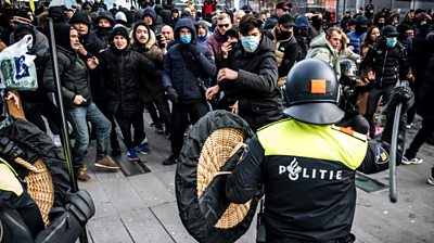 Police and protesters in Eindhoven